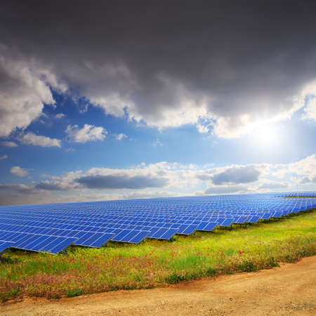ourdoor: Solar panels under sunset summer sky on field of flowers and road