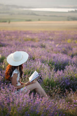 Young beautiful woman with long brown hair in dress and hat sits on lavender field with book in her hands under sunset light. Stock Photo