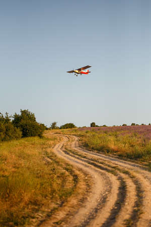 Llittle red and white agriculturial airplane flying over country road with deep ruts and purple lavender field under sunset light.