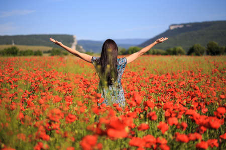 Beautiful woman with long brown hair in sundress with ethnic flower pattern stands with open arms on field of red poppies at the background of mountains and blue sky. Back view.