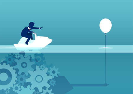 Vector of businessman chasing balloon having target in competition while floating on water.