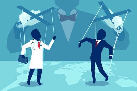 Ilustración de estilo plano de concepto de vector de una persona manipulando médico y agente de seguros detrás de escena. Ilustración de vector