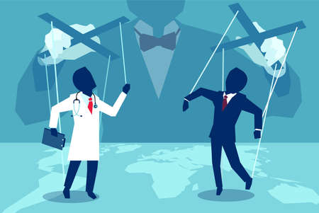 Vector concept flat style illustration of a person manipulating doctor and insurance agent behind the scenes.
