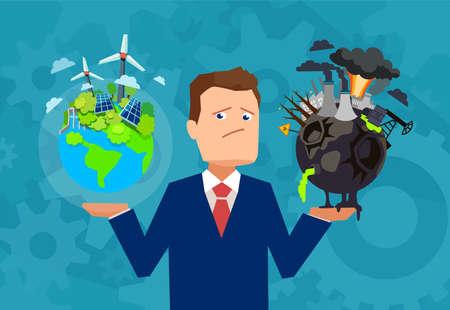 Platte ontwerpvector van een man die een gezonde en welvarende aarde houdt in vergelijking met een beschadigde planeet die een keuze maakt.