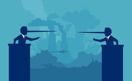 Two liar politicians having a debate on background of a war battlefield