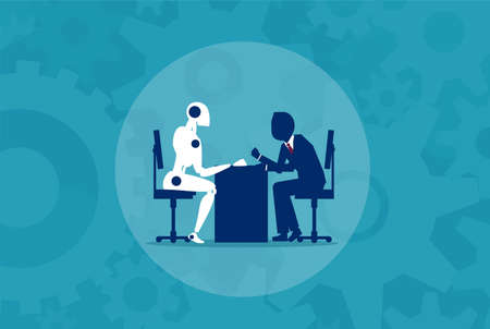 Humans vs Robots. Business illustration flat style vector
