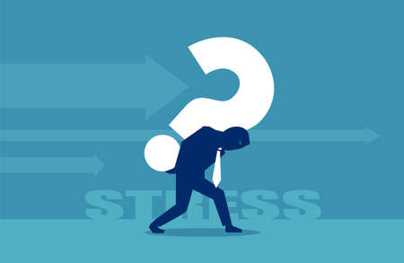 Vector of a business man carrying a big question mark on his back Illustration