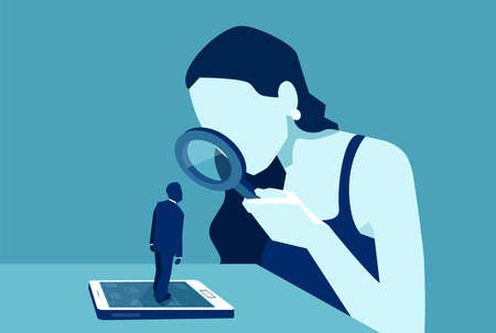 Vector of a woman with magnifying glass looking at a man standing on a modern gadget device, smartphone or tablet  Ilustração