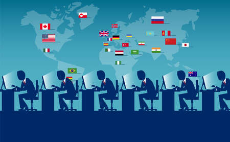 Vector concept picture of employees from all over the world sitting at workplace and laboring.  Illustration