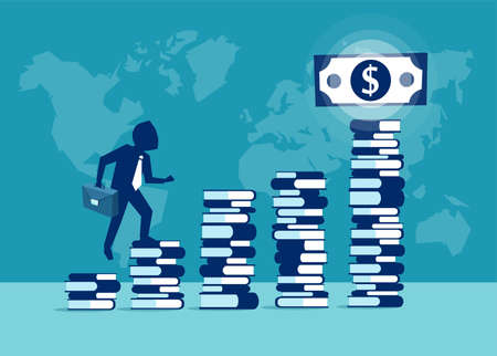 Vector picture of businessman climbing steps of books in desire to gain money.