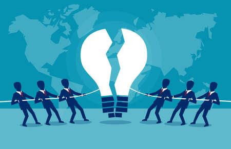Ilustración del concepto de vector de grupos empresariales rivales que compiten por la idea intelectual.