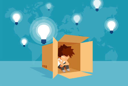 Concept vector illustration of kid sitting alone in box and thinking on problem.