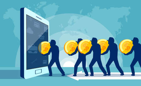 Concept vector illustration of people carrying coins into tablet spending money on useless trend.