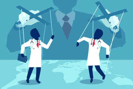 Concept vector picture of authority playing with doctors like puppets controlling medical business.  Illustration