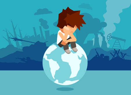 Concept illustration of unhappy abandoned boy sitting on globe and suffering from climate change and war and global problems. Stockfoto - 99456443