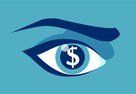 Vector picture of greedy eye with dollar sign in pupil.