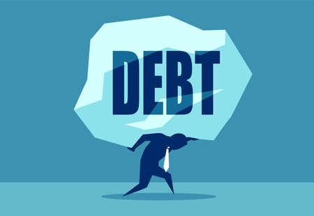 Concept vector picture of man under heavy rock of Debt. Ilustração Vetorial