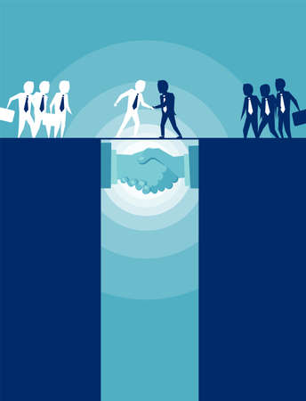 Vector picture of businesspeople shaking hands succeeding in negotiation.