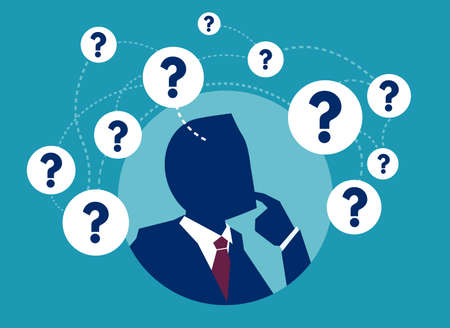 Vector picture of businessman having plenty of question thinking in doubts.  Illustration