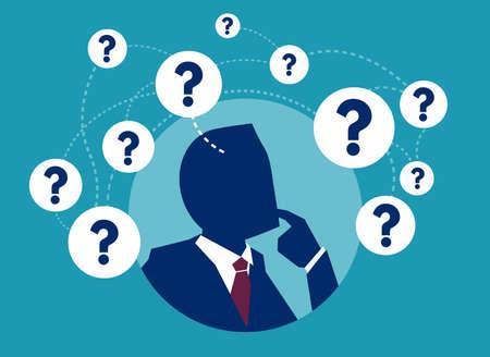 Vector picture of businessman having plenty of question thinking in doubts. Vektoros illusztráció