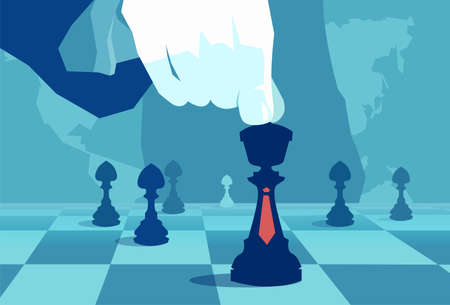 Vector concept illustration of crop hand moving chess piece on board of world politics.  Vectores