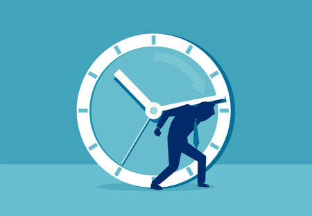 Vector picture of man stressed with clock hand having deadline and busy schedule.