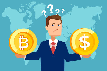 Flat style picture of businessman holding dollar coin and bitcoin looking confused with finances.