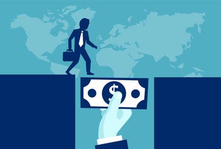 Vektorillustration des mächtigen Investors, der Geld gibt, das Geschäftsmann in der zukünftigen Entwicklung unterstützt. Vektorgrafik