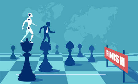 Vector illustration of robot and man on chess pieces playing game on board reaching finish in rivalry.