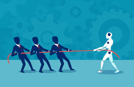 Vector design of people pulling rope with robot fighting with artificial intelligence.  Illustration