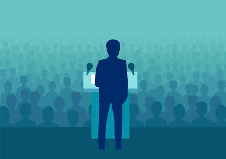 Vector illustration of a businessman or politician speaking to a large crowd of people 版權商用圖片 - 100643288