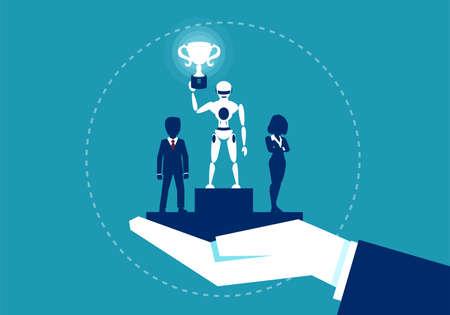 Illustration de concept avec le robot ayant la première place étant meilleur que l'homme en compétition.