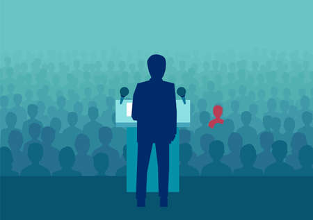 Vector design of political person meeting with crowd and making speech before election.