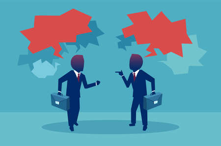 Flat style of two businessman having debates during meeting with red speech bubbles on blue background