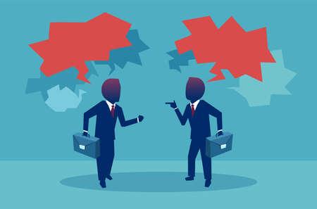 Vlakke stijl van twee zakenman met debatten tijdens ontmoeting met rode tekstballonnen op blauwe achtergrond