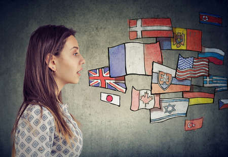 Young student woman learning different languages Stock Photo