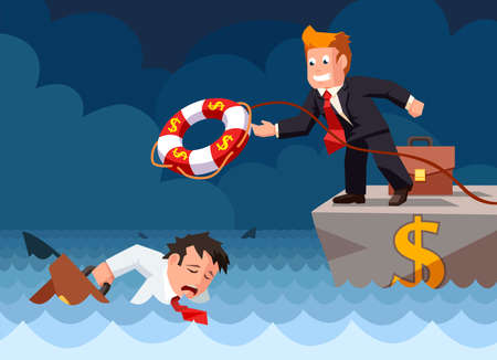 Cartoon vector flat style of a bank employee throwing a lifebuoy to a drowning businessman in danger. Investment risk and security concept.  イラスト・ベクター素材