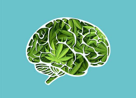 Vecteur d'un cerveau humain fait de feuilles de marijuana