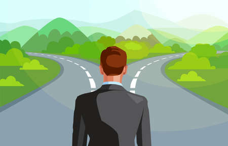 Vector of a business man in front of two roads thinking deciding which way to go in life
