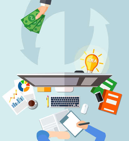 Money for business idea concept. Vector of workplace of a businessman managing a profitable internet based enterprise