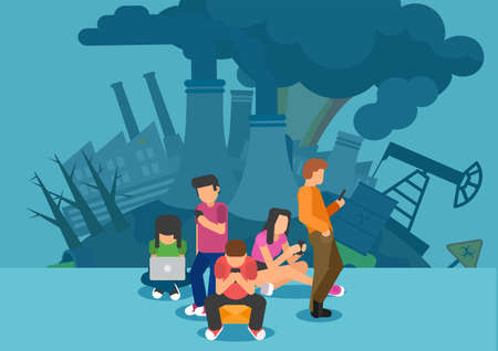 Energy use and greenhouse gas emissions in digital news media and carbon footprint of the internet concept Illustration