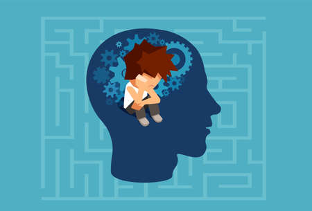 Vector of a child subconscious mind of an adult man concept Vectores