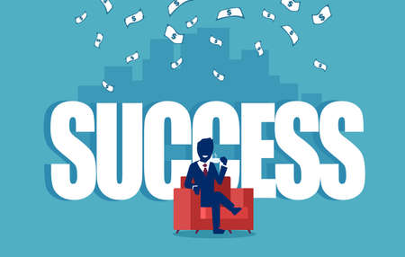 Vector of a successful businesman sitting in a red armchair under money rain with a skyline background Illustration