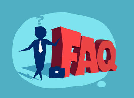 Frequently asked questions icon with a businessman standing near