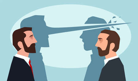 Psychologie du concept de mensonges. Homme au long nez couché un autre gars