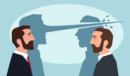 Psychologie van leugens concept. Man met lange neus die een andere kerel ligt