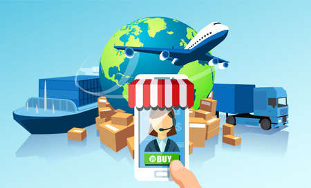 Transportation delivery logistics network via mobile app technology concept. Global shipping of cargo by air trucking rail transportation maritime Illustration