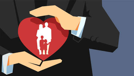 Family health and life insurance concept. Two hands holding protecting the heart with family inside. Ilustracja