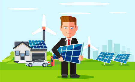 Business man employee of solar power plant and wind farm on background of clean energy powered household. Vector flat design illustration Illustration