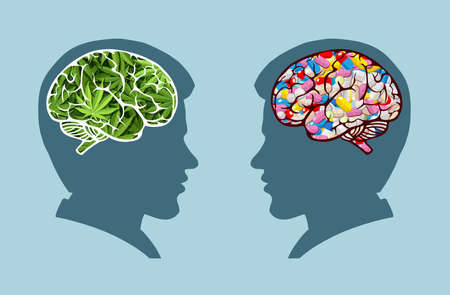 Marijuana medical use and health care concept. Traditional medicine versus other options with cannabis
